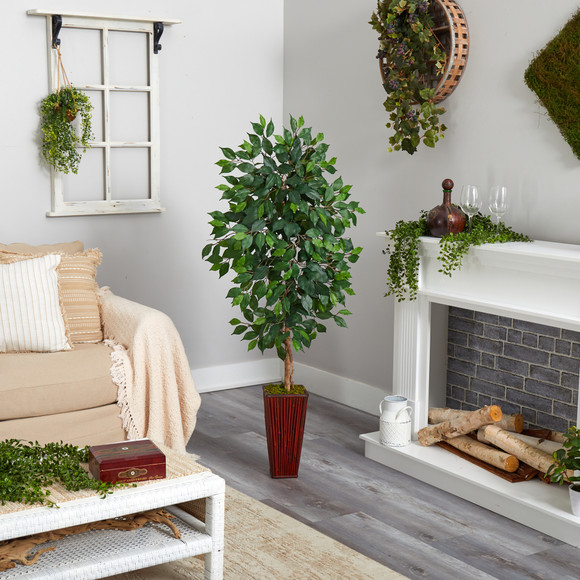 5 Ficus Artificial Tree in Bamboo Planter - SKU #T2568 - 3
