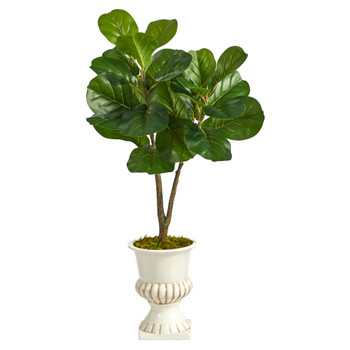 3 Fiddle Leaf Fig Artificial Tree in White Urn - SKU #T2570