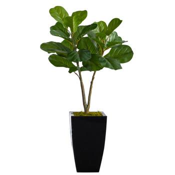 3 Fiddle Leaf Fig Artificial Tree in Black Metal Planter - SKU #T2571