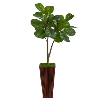 39 Fiddle Leaf Fig Artificial Tree in Bamboo Planter - SKU #T2572