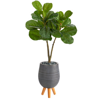 3.5 Fiddle Leaf Fig Artificial Tree in Gray Planter with Stand - SKU #T2574