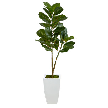 4 Fiddle Leaf Fig Artificial Tree in White Metal Planter - SKU #T2575