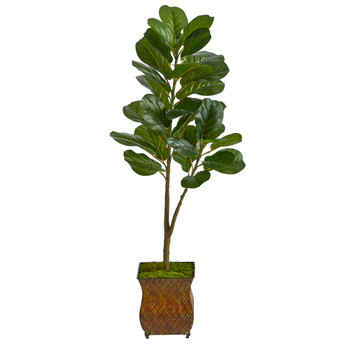 4 Fiddle Leaf Fig Artificial Tree in Metal Planter - SKU #T2576
