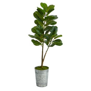 4 Fiddle Leaf Fig Artificial Tree in Metal Planter - SKU #T2577