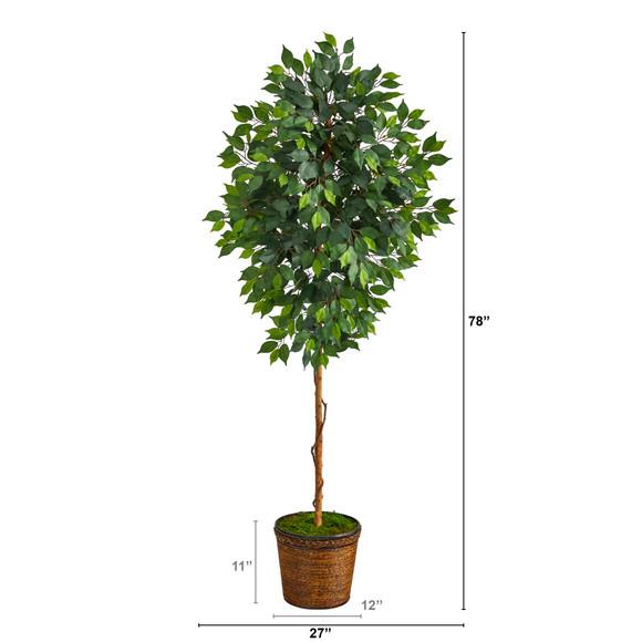 6.5 Ficus Artificial tree in Wicker Planter - SKU #T2581 - 1