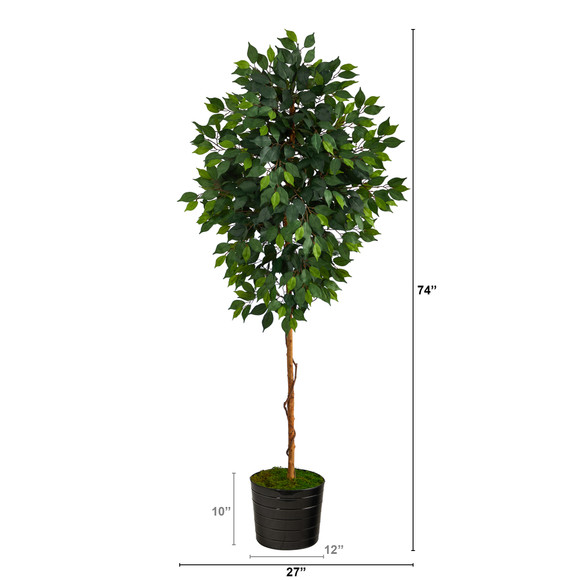 74 Ficus Artificial tree in Black Tin Planter - SKU #T2582 - 1