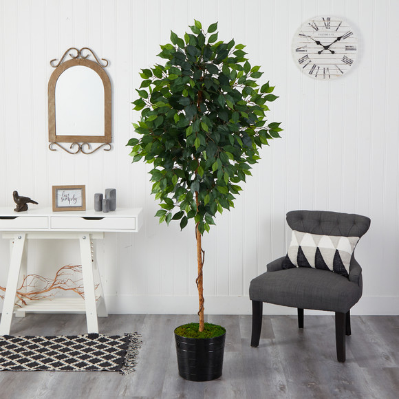 74 Ficus Artificial tree in Black Tin Planter - SKU #T2582 - 2