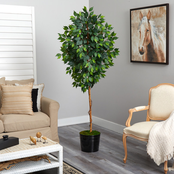 74 Ficus Artificial tree in Black Tin Planter - SKU #T2582 - 3