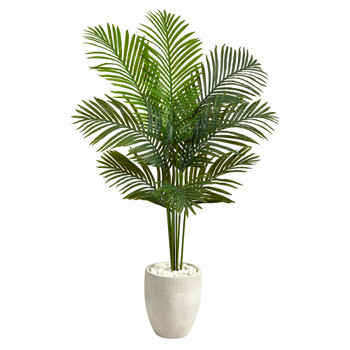 5 Paradise Palm Artificial Tree in White Planter - SKU #T2583