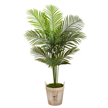 5 Paradise Palm Artificial Tree in Farmhouse Planter - SKU #T2584