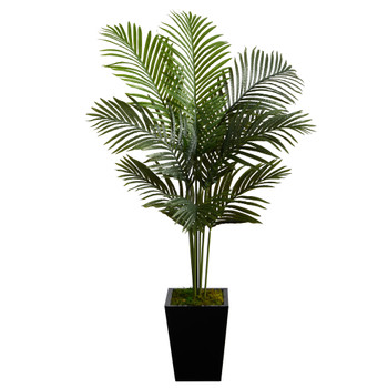 5 Paradise Palm Artificial Tree in Black Metal Planter - SKU #T2585