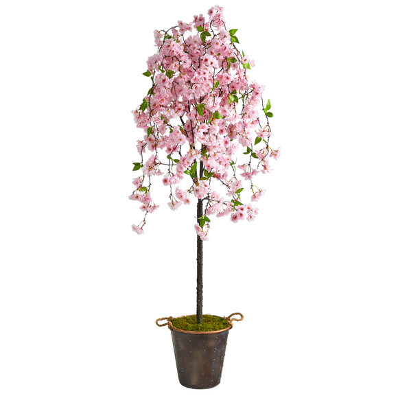6 Cherry Blossom Artificial Tree in Decorative Metal Pail with Rope - SKU #T2586