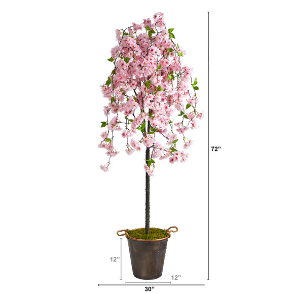 6 Cherry Blossom Artificial Tree in Decorative Metal Pail with Rope - SKU #T2586 - 1