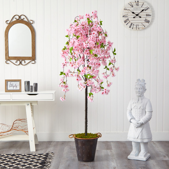 6 Cherry Blossom Artificial Tree in Decorative Metal Pail with Rope - SKU #T2586 - 2