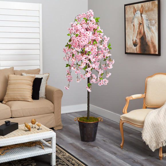 6 Cherry Blossom Artificial Tree in Decorative Metal Pail with Rope - SKU #T2586 - 3