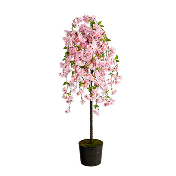 6 Cherry Blossom Artificial Tree in Black Tin Planter - SKU #T2587