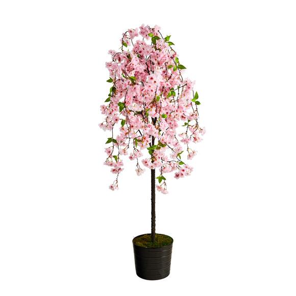 6 Cherry Blossom Artificial Tree in Black Tin Planter - SKU #T2587