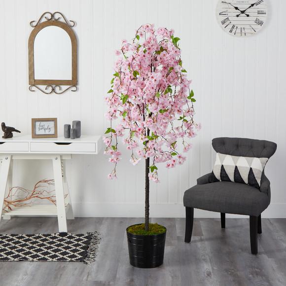 6 Cherry Blossom Artificial Tree in Black Tin Planter - SKU #T2587 - 2