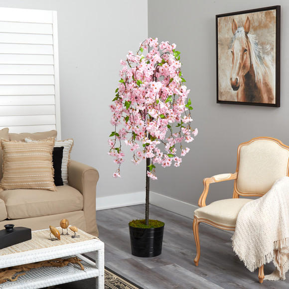 6 Cherry Blossom Artificial Tree in Black Tin Planter - SKU #T2587 - 3