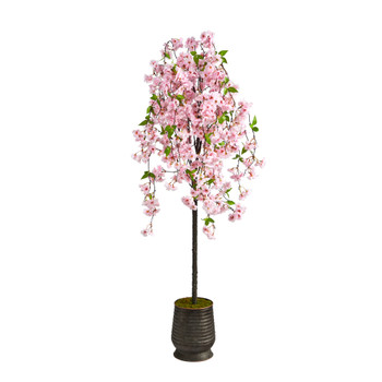 6 Cherry Blossom Artificial Tree in Ribbed Metal Planter - SKU #T2588