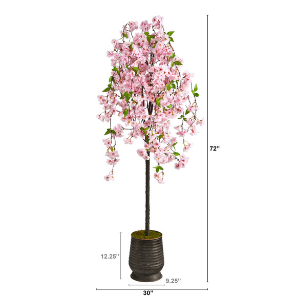 6 Cherry Blossom Artificial Tree in Ribbed Metal Planter - SKU #T2588 - 1
