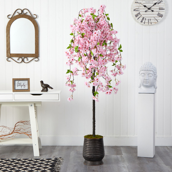 6 Cherry Blossom Artificial Tree in Ribbed Metal Planter - SKU #T2588 - 2
