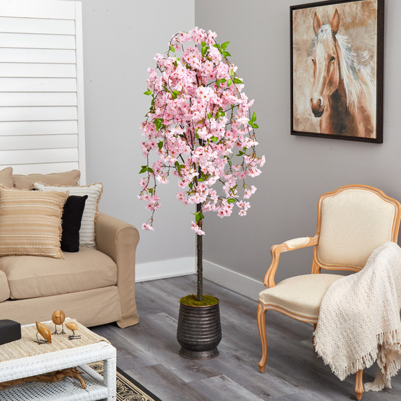 6 Cherry Blossom Artificial Tree in Ribbed Metal Planter - SKU #T2588 - 3