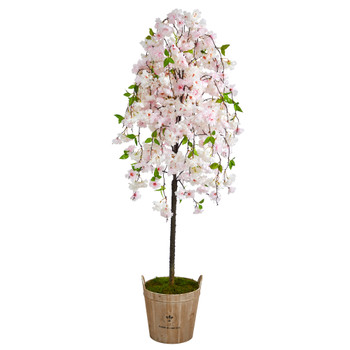 70 Cherry Blossom Artificial Tree in Farmhouse Planter - SKU #T2590