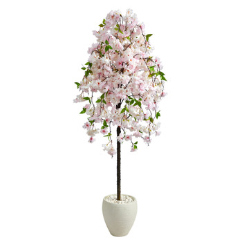 70 Cherry Blossom Artificial Tree in White Planter - SKU #T2591