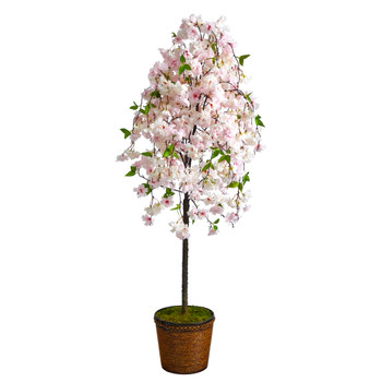 70 Cherry Blossom Artificial Tree in Wicker Planter - SKU #T2592