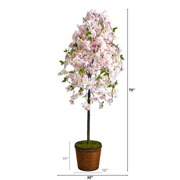 70 Cherry Blossom Artificial Tree in Wicker Planter - SKU #T2592 - 1