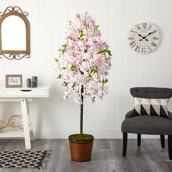 70 Cherry Blossom Artificial Tree in Wicker Planter - SKU #T2592 - 2