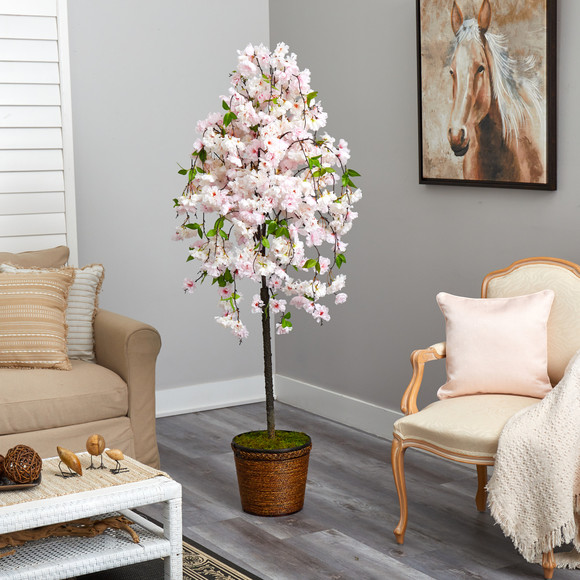 70 Cherry Blossom Artificial Tree in Wicker Planter - SKU #T2592 - 3