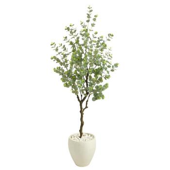 63 Eucalyptus Artificial Tree in White Planter - SKU #T2593