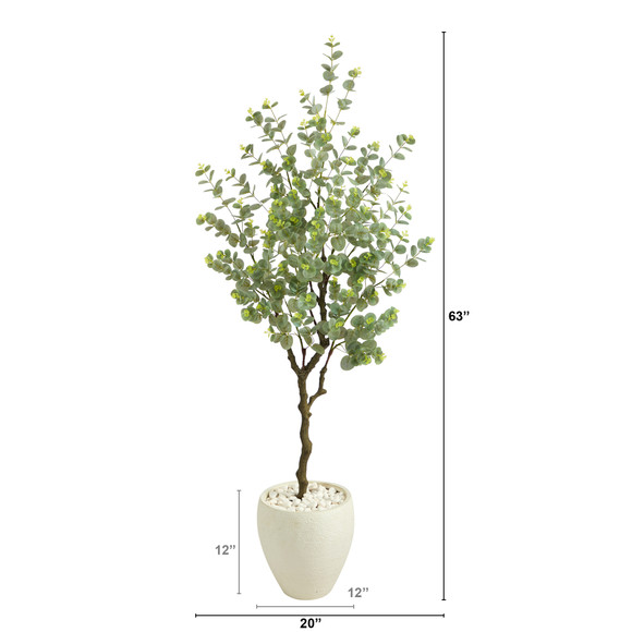 63 Eucalyptus Artificial Tree in White Planter - SKU #T2593 - 1