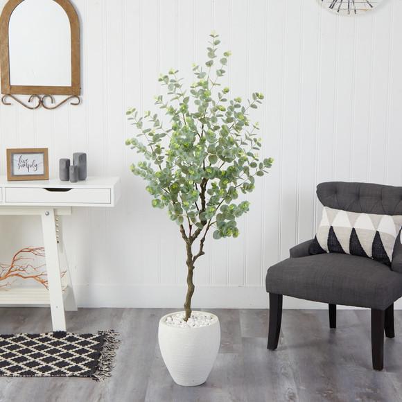 63 Eucalyptus Artificial Tree in White Planter - SKU #T2593 - 2