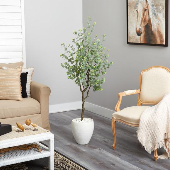 63 Eucalyptus Artificial Tree in White Planter - SKU #T2593 - 3