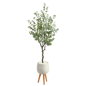 70 Eucalyptus Artificial Tree in White Planter with Stand - SKU #T2594