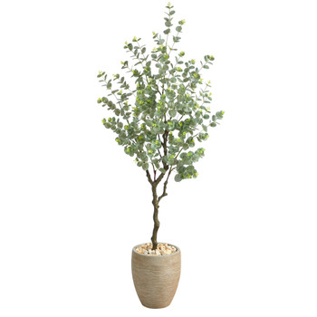 5 Eucalyptus Artificial Tree in Sandstone Planter - SKU #T2595