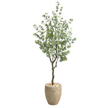 5 Eucalyptus Artificial Tree in Sandstone Planter - SKU #T2595