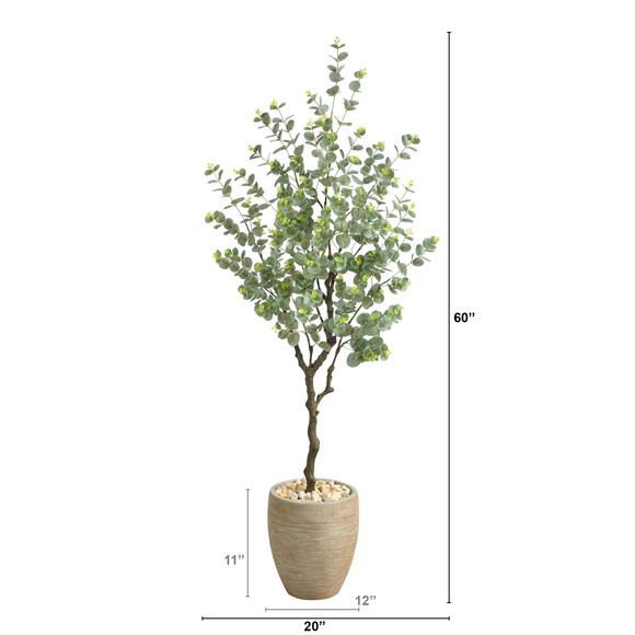 5 Eucalyptus Artificial Tree in Sandstone Planter - SKU #T2595 - 1