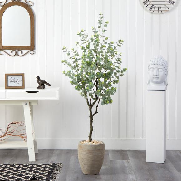 5 Eucalyptus Artificial Tree in Sandstone Planter - SKU #T2595 - 2