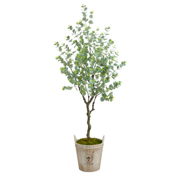 5 Eucalyptus Artificial Tree in Farmhouse Planter - SKU #T2596