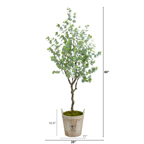 5 Eucalyptus Artificial Tree in Farmhouse Planter - SKU #T2596 - 1