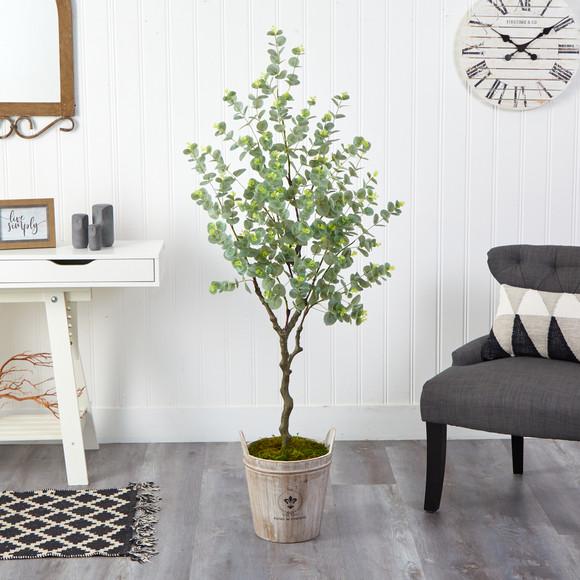 5 Eucalyptus Artificial Tree in Farmhouse Planter - SKU #T2596 - 2