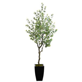 64 Eucalyptus Artificial Tree in Black Metal Planter - SKU #T2597