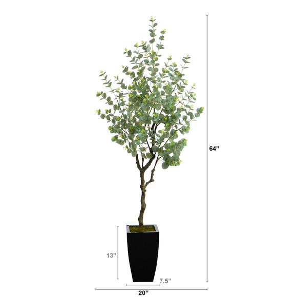 64 Eucalyptus Artificial Tree in Black Metal Planter - SKU #T2597 - 1
