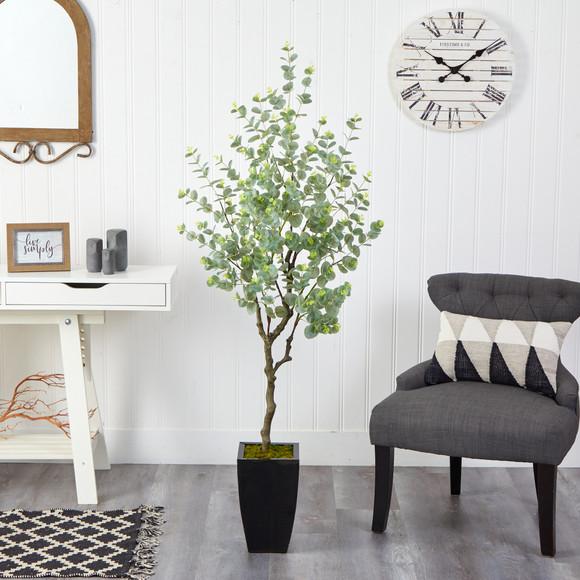 64 Eucalyptus Artificial Tree in Black Metal Planter - SKU #T2597 - 2