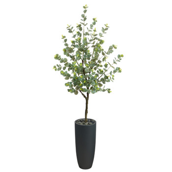 5 Eucalyptus Artificial Tree in Gray Planter - SKU #T2599