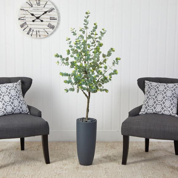 5 Eucalyptus Artificial Tree in Gray Planter - SKU #T2599 - 2